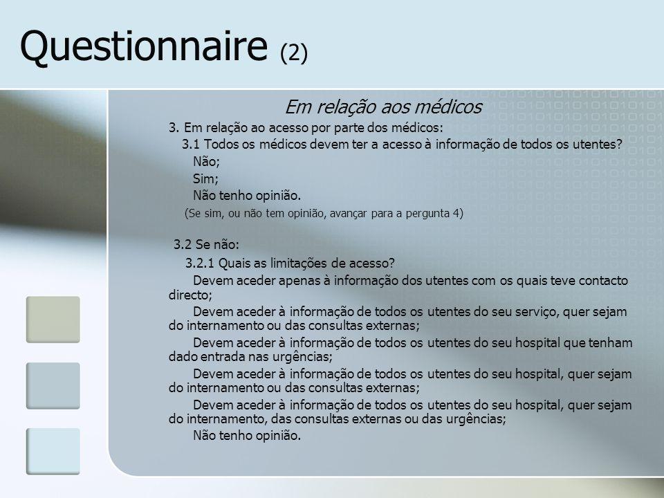 Questionnaire (2) Em relação aos médicos 3. Em relação ao acesso por parte dos médicos: 3.1 Todos os médicos devem ter a acesso à informação de todos