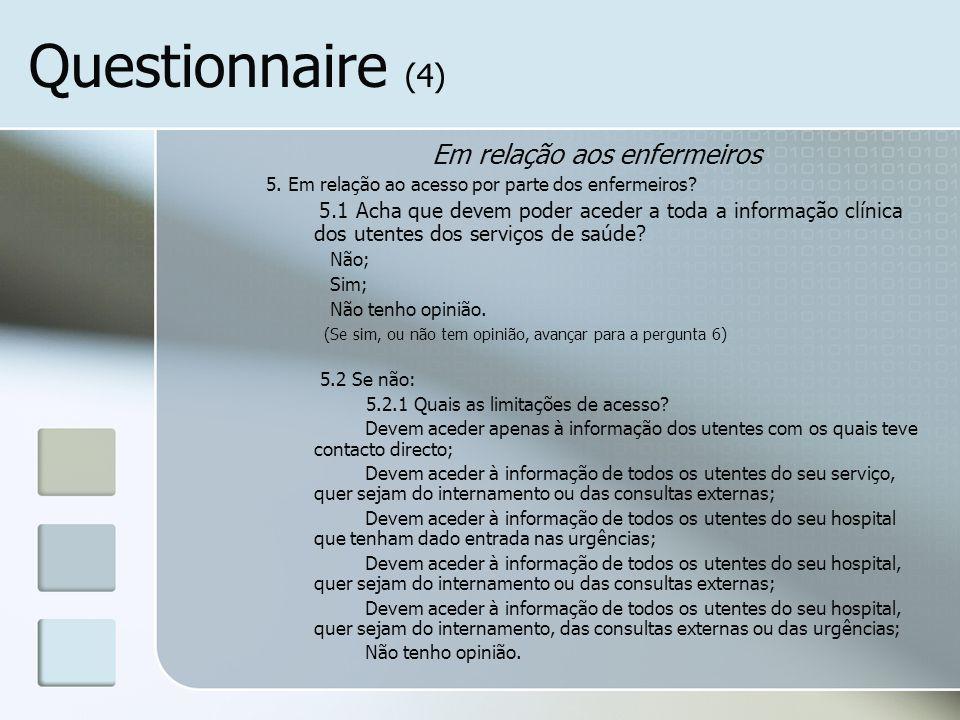 Questionnaire (4) Em relação aos enfermeiros 5. Em relação ao acesso por parte dos enfermeiros? 5.1 Acha que devem poder aceder a toda a informação cl