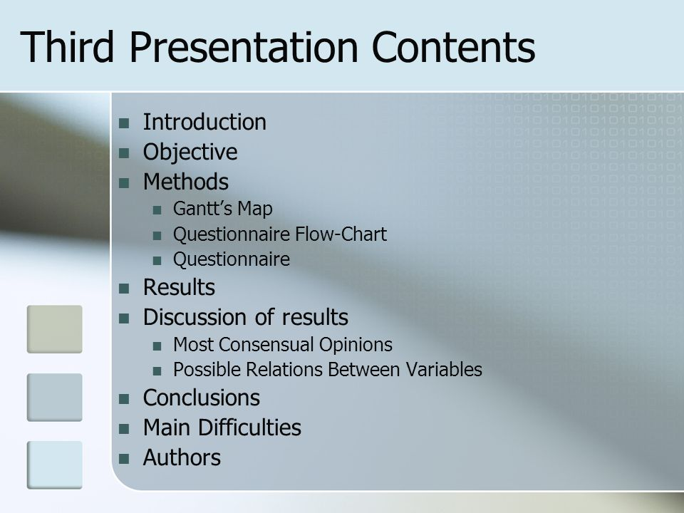 Third Presentation Contents Introduction Objective Methods Gantts Map Questionnaire Flow-Chart Questionnaire Results Discussion of results Most Consensual Opinions Possible Relations Between Variables Conclusions Main Difficulties Authors