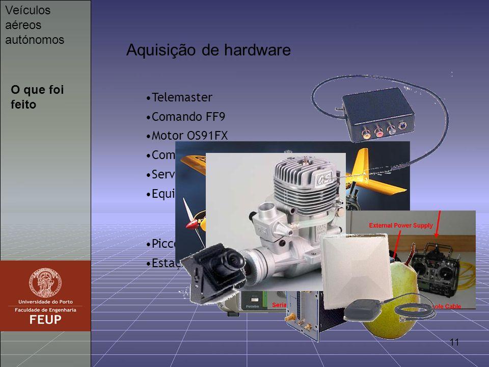 11 O que foi feito Veículos aéreos autónomos Aquisição de hardware Telemaster Comando FF9 Motor OS91FX Computador Servos Equipamento electrónico (cama