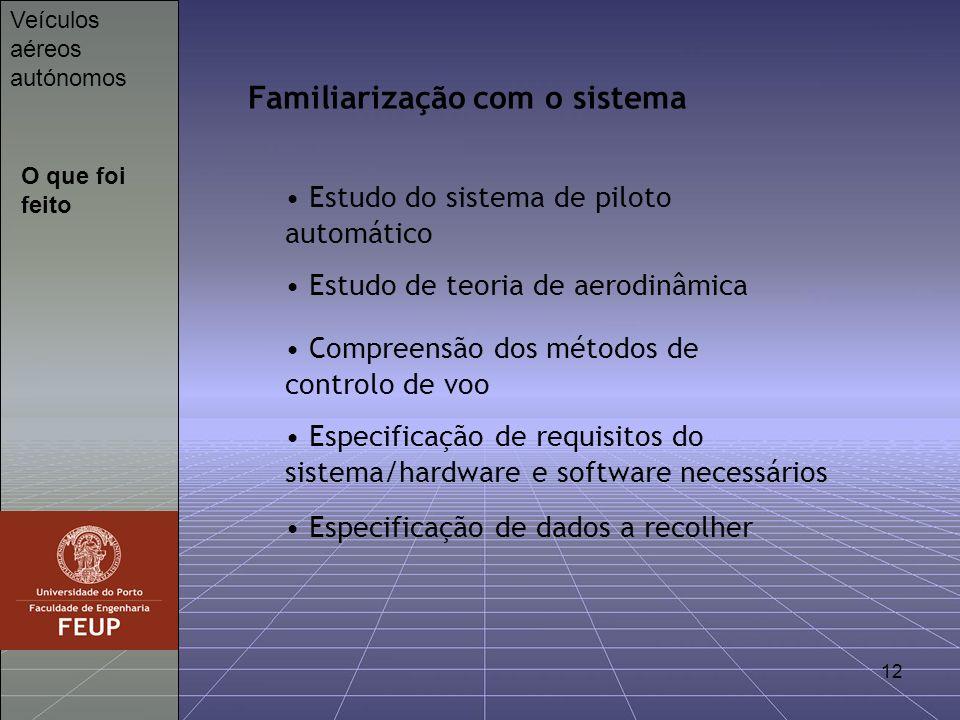 12 O que foi feito Veículos aéreos autónomos Familiarização com o sistema Estudo do sistema de piloto automático Estudo de teoria de aerodinâmica Comp