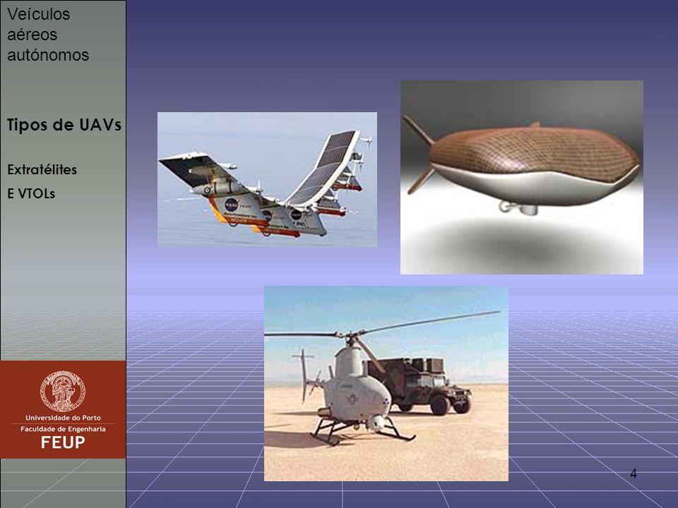 4 Tipos de UAVs Veículos aéreos autónomos Extratélites E VTOLs