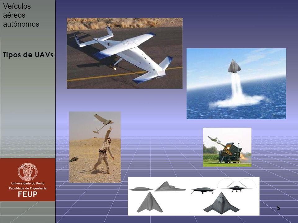6 Objectivos Veículos aéreos autónomos Execução de missões com UAVs Controlo e operação de UAVs Veículos Aéreos autónomos não tripulados