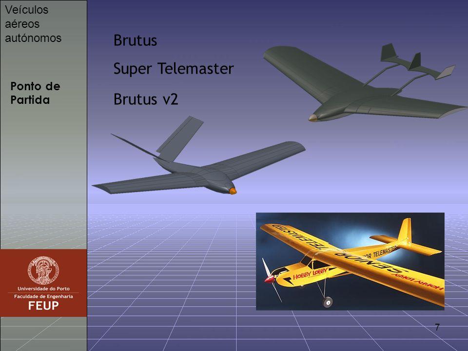 8 Piloto automático Veículos aéreos autónomos Piccolo 212g 12,2cm x 6,1cm x 3,8cm 10 servos 3 giroscópios 2 acelerómetros de 2 eixos 1 sensor de pressão absoluta 1 sensor de pressão total 1 sensor de temperatura GPS Altímetro sónico