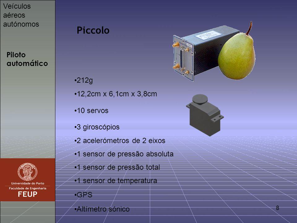 8 Piloto automático Veículos aéreos autónomos Piccolo 212g 12,2cm x 6,1cm x 3,8cm 10 servos 3 giroscópios 2 acelerómetros de 2 eixos 1 sensor de press