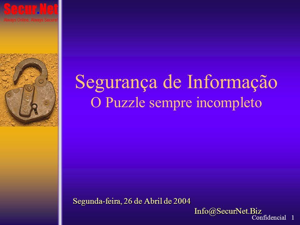 Segurança de Informação O Puzzle sempre incompleto Segunda-feira, 26 de Abril de 2004 Info@SecurNet.Biz Confidencial 1