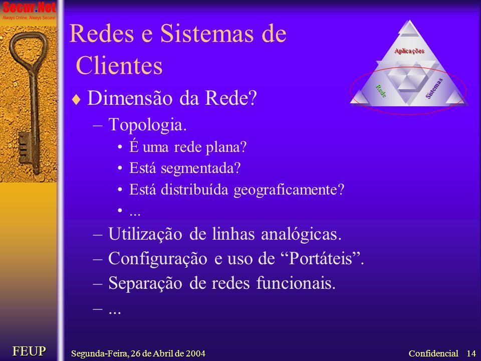 Segunda-Feira, 26 de Abril de 2004 FEUP Confidencial 14 Redes e Sistemas de Clientes Dimensão da Rede? –Topologia. É uma rede plana? Está segmentada?
