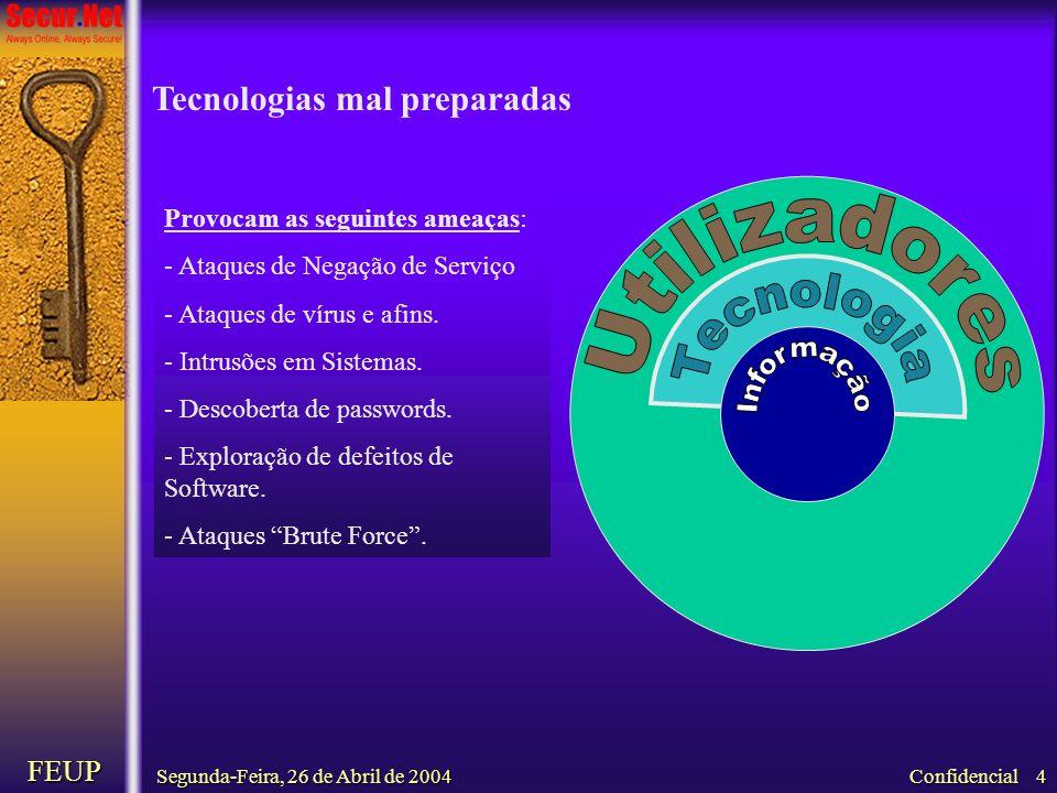 Segunda-Feira, 26 de Abril de 2004 FEUP Confidencial 4 Provocam as seguintes ameaças: - Ataques de Negação de Serviço - Ataques de vírus e afins. - In