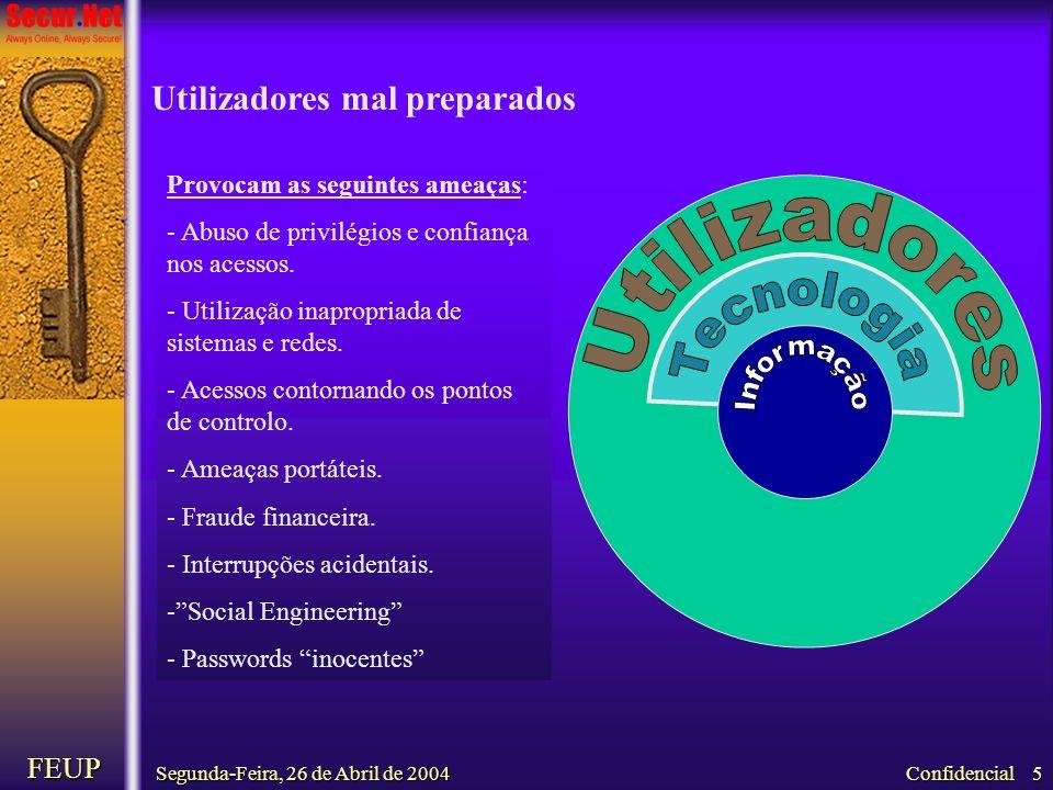 Segunda-Feira, 26 de Abril de 2004 FEUP Confidencial 5 Provocam as seguintes ameaças: - Abuso de privilégios e confiança nos acessos. - Utilização ina