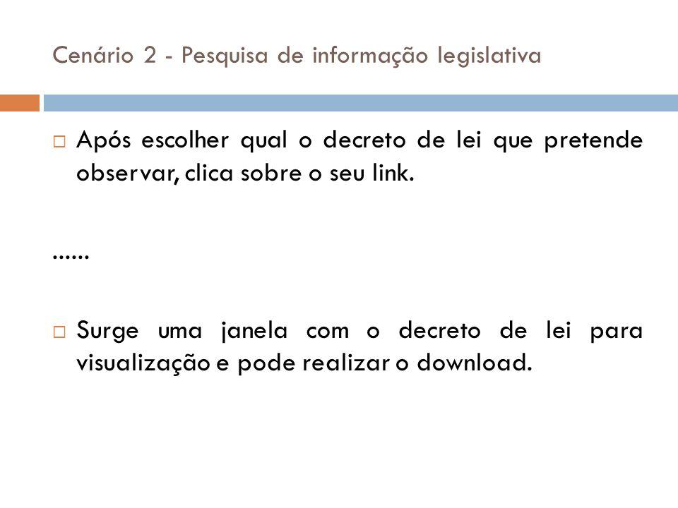 Após escolher qual o decreto de lei que pretende observar, clica sobre o seu link....... Surge uma janela com o decreto de lei para visualização e pod