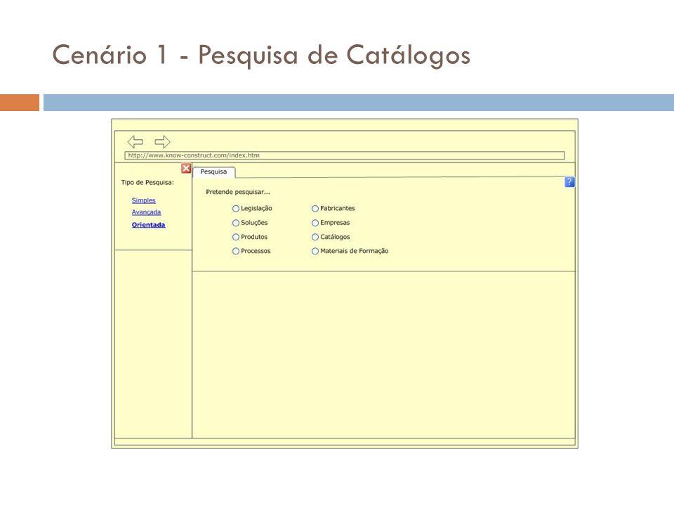 O engenheiro Meireles selecciona uma pesquisa Orientada, e procura em Catálogos.