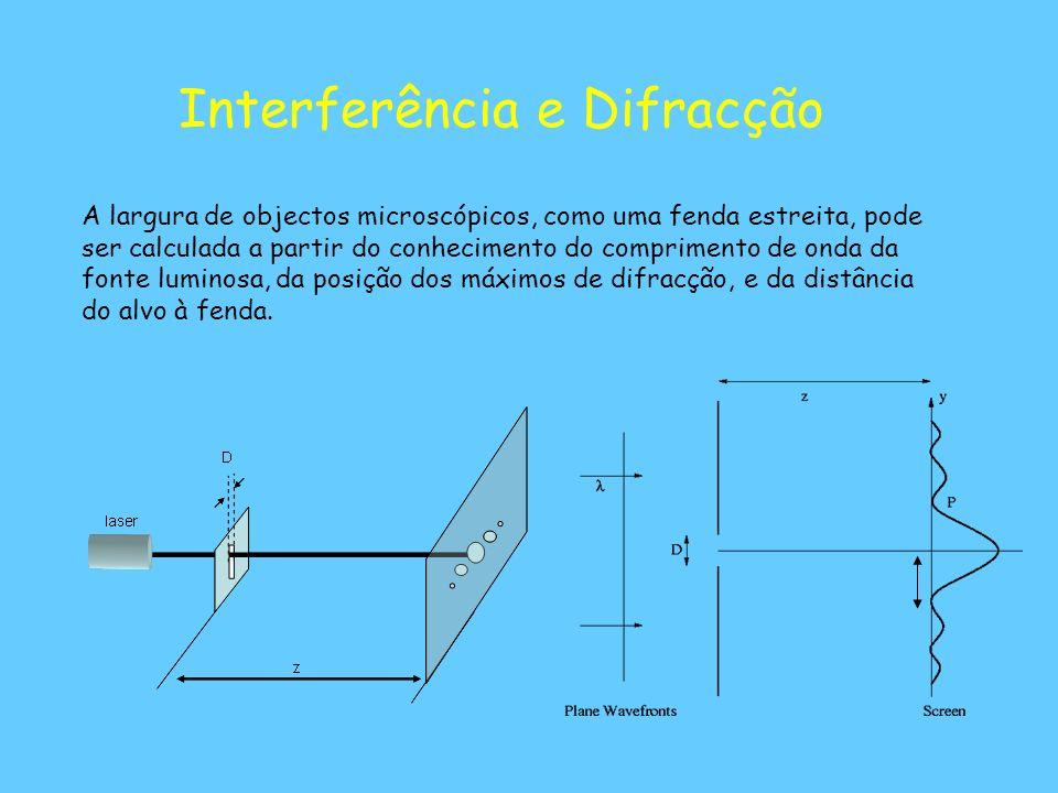 Interferência e Difracção A largura de objectos microscópicos, como uma fenda estreita, pode ser calculada a partir do conhecimento do comprimento de onda da fonte luminosa, da posição dos máximos de difracção, e da distância do alvo à fenda.