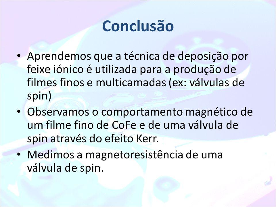 Conclusão Aprendemos que a técnica de deposição por feixe iónico é utilizada para a produção de filmes finos e multicamadas (ex: válvulas de spin) Obs