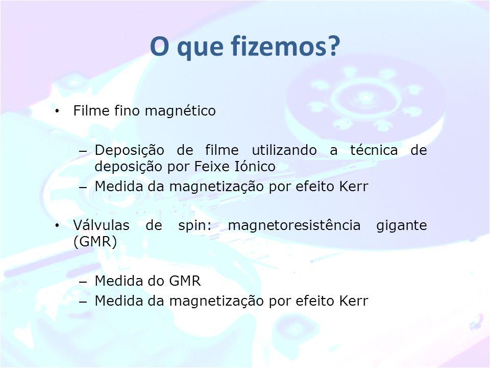 O que fizemos? Filme fino magnético – Deposição de filme utilizando a técnica de deposição por Feixe Iónico – Medida da magnetização por efeito Kerr V