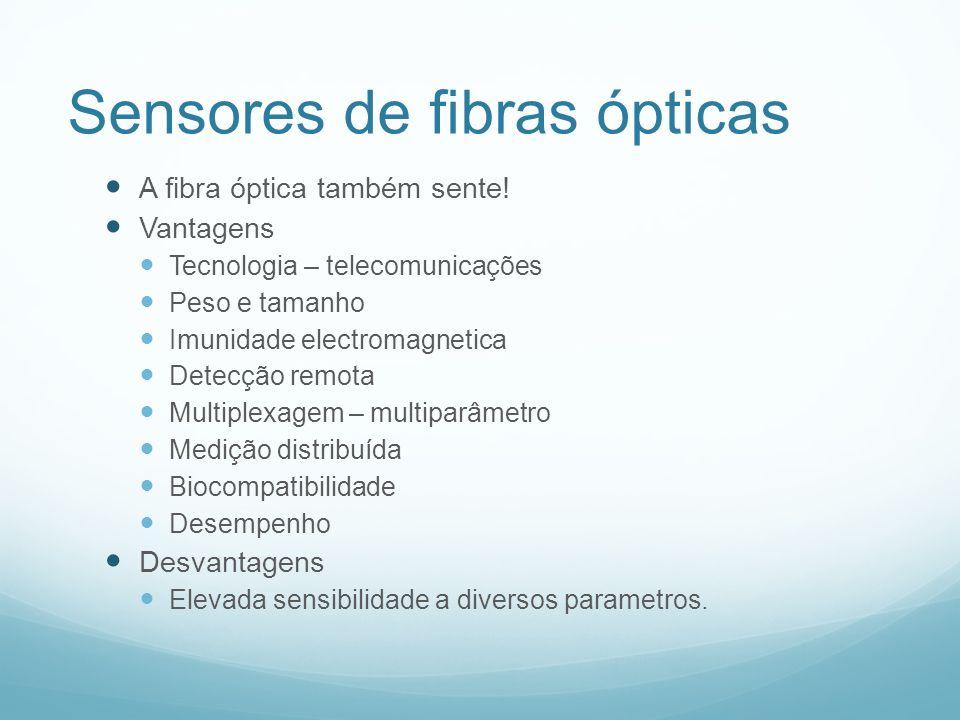 Sensores de fibras ópticas A fibra óptica também sente! Vantagens Tecnologia – telecomunicações Peso e tamanho Imunidade electromagnetica Detecção rem