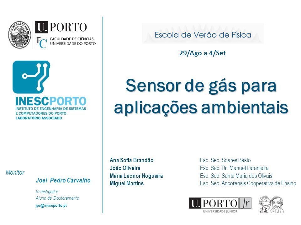 Sensor de gás para aplicações ambientais Ana Sofia Brandão Esc. Sec. Soares Basto João Oliveira Esc. Sec. Dr. Manuel Laranjeira Maria Leonor Nogueira