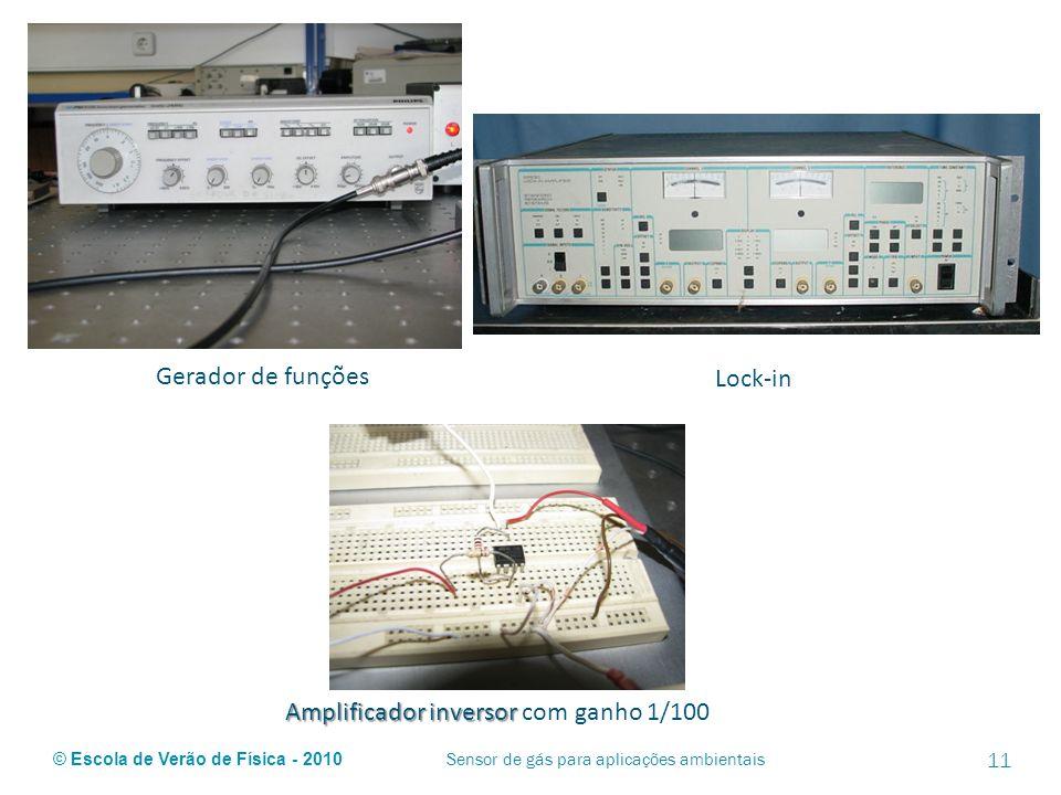 © Escola de Verão de Física - 2010 Gerador de funções Lock-in Amplificador inversor Amplificador inversor com ganho 1/100 Sensor de gás para aplicaçõe