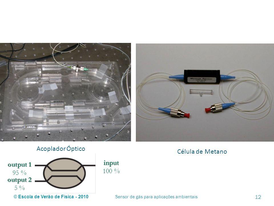 © Escola de Verão de Física - 2010 Acoplador Óptico Célula de Metano Sensor de gás para aplicações ambientais 12 output 1 95 % input 100 % output 2 5
