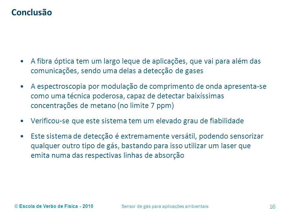 © Escola de Verão de Física - 2010 Conclusão A fibra óptica tem um largo leque de aplicações, que vai para além das comunicações, sendo uma delas a de