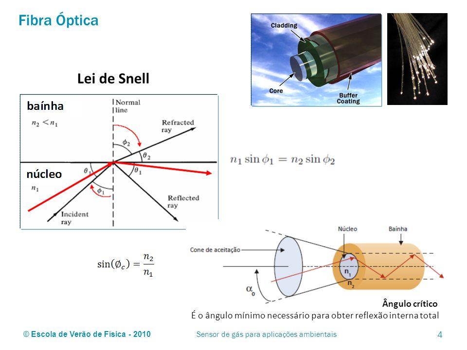 © Escola de Verão de Física - 2010 Fibra Óptica 4 Sensor de gás para aplicações ambientais Ângulo crítico É o ângulo mínimo necessário para obter refl