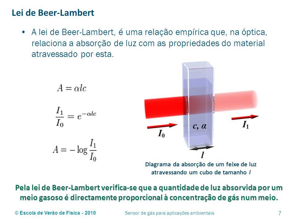 © Escola de Verão de Física - 2010 Lei de Beer-Lambert A lei de Beer-Lambert, é uma relação empírica que, na óptica, relaciona a absorção de luz com a