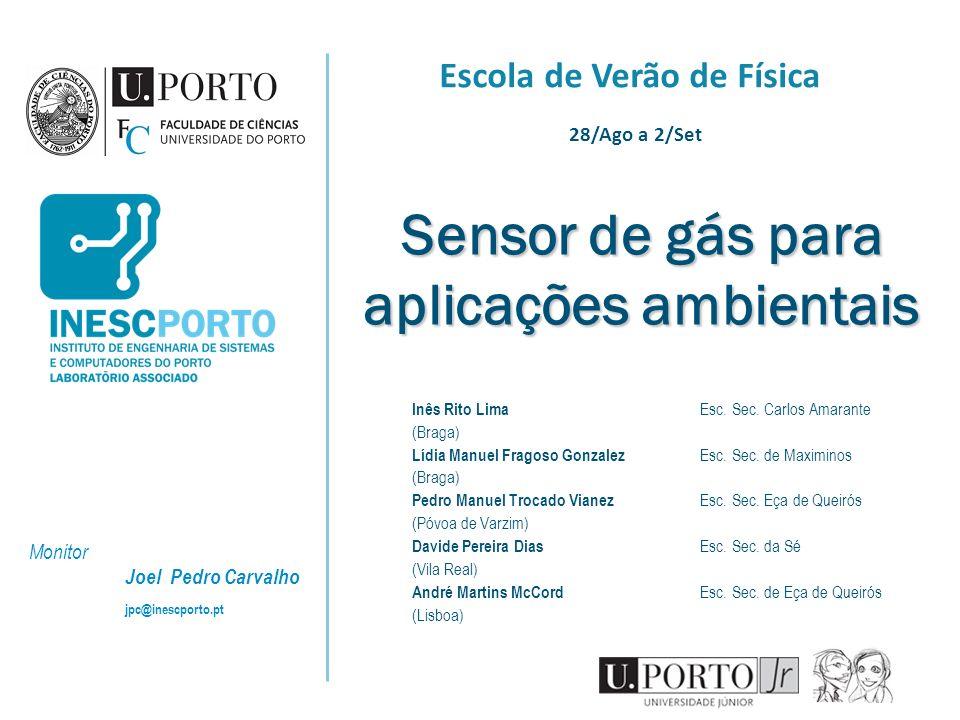 Sensor de gás para aplicações ambientais Inês Rito Lima Esc. Sec. Carlos Amarante (Braga) Lídia Manuel Fragoso Gonzalez Esc. Sec. de Maximinos (Braga)