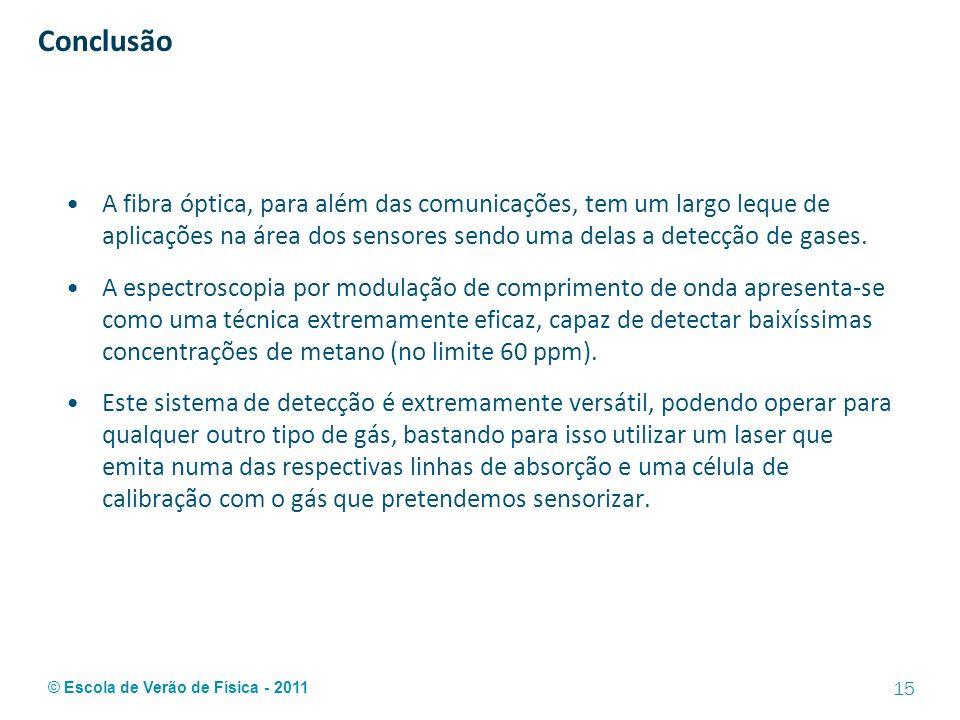 © Escola de Verão de Física - 2011 Conclusão A fibra óptica, para além das comunicações, tem um largo leque de aplicações na área dos sensores sendo u