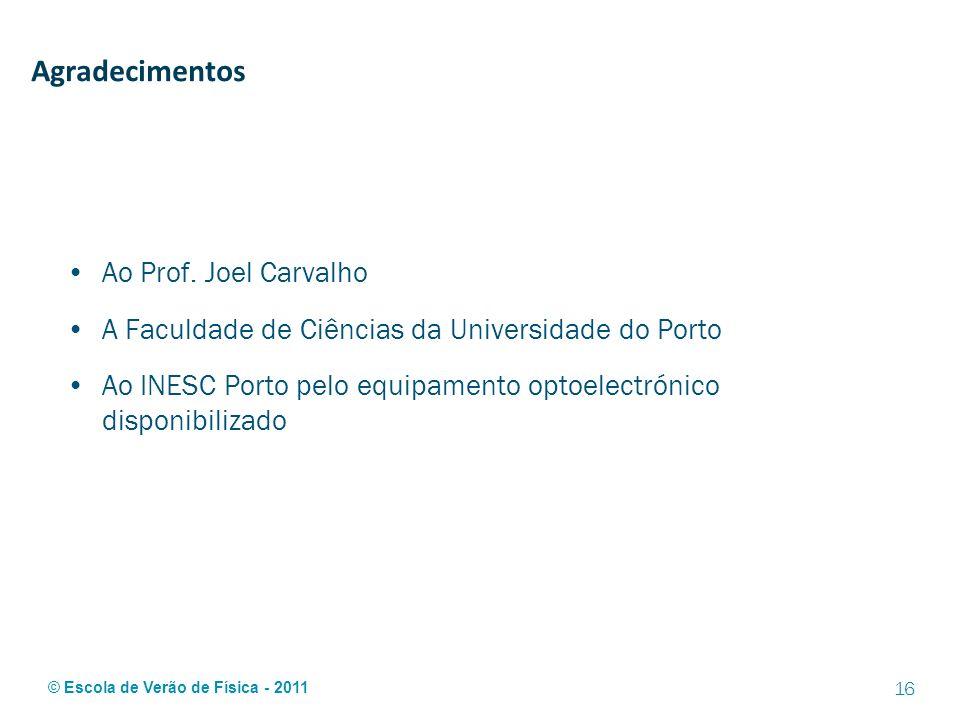 © Escola de Verão de Física - 2011 Agradecimentos Ao Prof. Joel Carvalho A Faculdade de Ciências da Universidade do Porto Ao INESC Porto pelo equipame