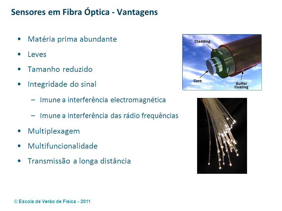 © Escola de Verão de Física - 2011 Sensores em Fibra Óptica - Vantagens Matéria prima abundante Leves Tamanho reduzido Integridade do sinal –Imune a i