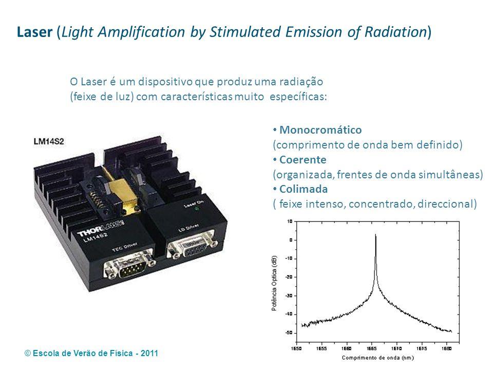 © Escola de Verão de Física - 2011 Laser (Light Amplification by Stimulated Emission of Radiation) Monocromático (comprimento de onda bem definido) Co