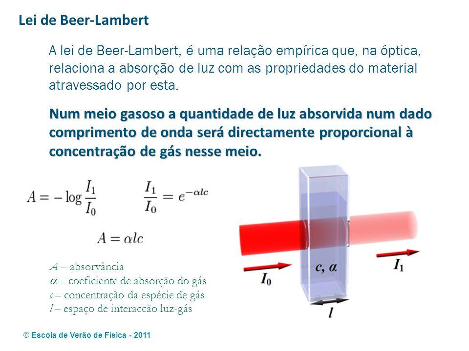 © Escola de Verão de Física - 2011 Lei de Beer-Lambert A lei de Beer-Lambert, é uma relação empírica que, na óptica, relaciona a absorção de luz com a