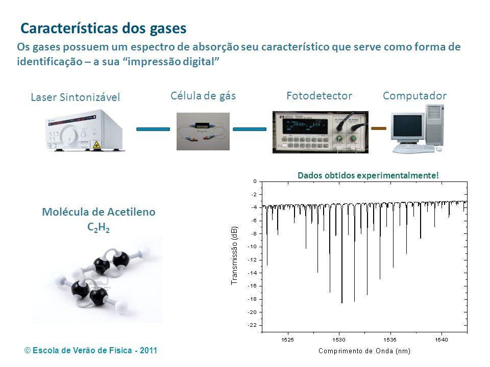 © Escola de Verão de Física - 2011 Características dos gases Os gases possuem um espectro de absorção seu característico que serve como forma de ident