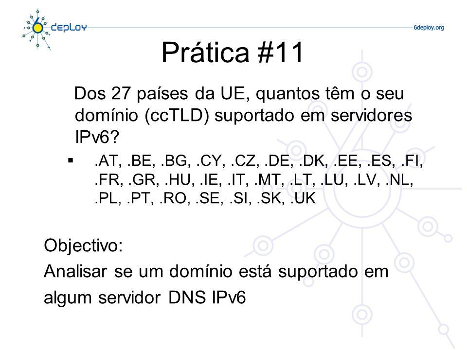 Prática #11 Dos 27 países da UE, quantos têm o seu domínio (ccTLD) suportado em servidores IPv6?.AT,.BE,.BG,.CY,.CZ,.DE,.DK,.EE,.ES,.FI,.FR,.GR,.HU,.I
