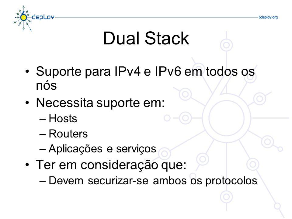 Dual Stack Suporte para IPv4 e IPv6 em todos os nós Necessita suporte em: –Hosts –Routers –Aplicações e serviços Ter em consideração que: –Devem securizar-se ambos os protocolos