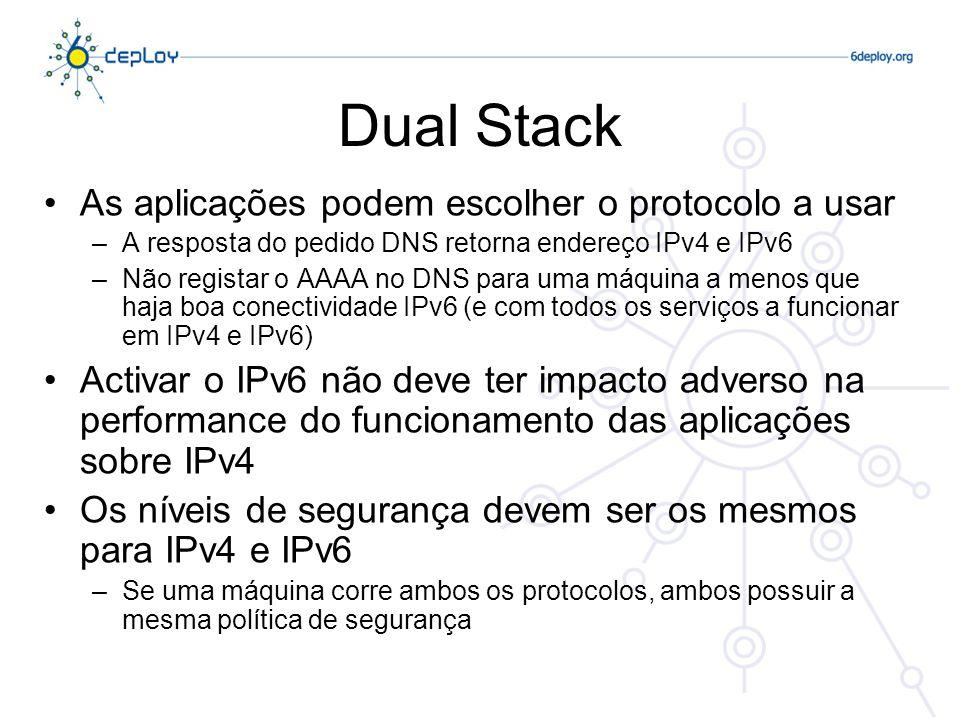 Dual Stack As aplicações podem escolher o protocolo a usar –A resposta do pedido DNS retorna endereço IPv4 e IPv6 –Não registar o AAAA no DNS para uma máquina a menos que haja boa conectividade IPv6 (e com todos os serviços a funcionar em IPv4 e IPv6) Activar o IPv6 não deve ter impacto adverso na performance do funcionamento das aplicações sobre IPv4 Os níveis de segurança devem ser os mesmos para IPv4 e IPv6 –Se uma máquina corre ambos os protocolos, ambos possuir a mesma política de segurança