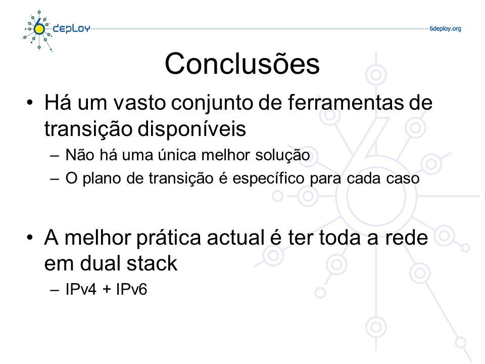 Conclusões Há um vasto conjunto de ferramentas de transição disponíveis –Não há uma única melhor solução –O plano de transição é específico para cada caso A melhor prática actual é ter toda a rede em dual stack –IPv4 + IPv6