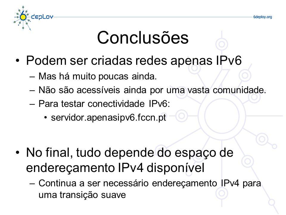 Conclusões Podem ser criadas redes apenas IPv6 –Mas há muito poucas ainda.