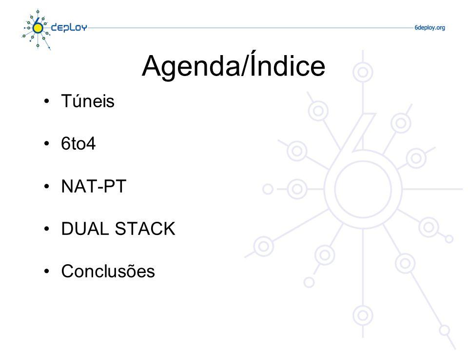 Agenda/Índice Túneis 6to4 NAT-PT DUAL STACK Conclusões
