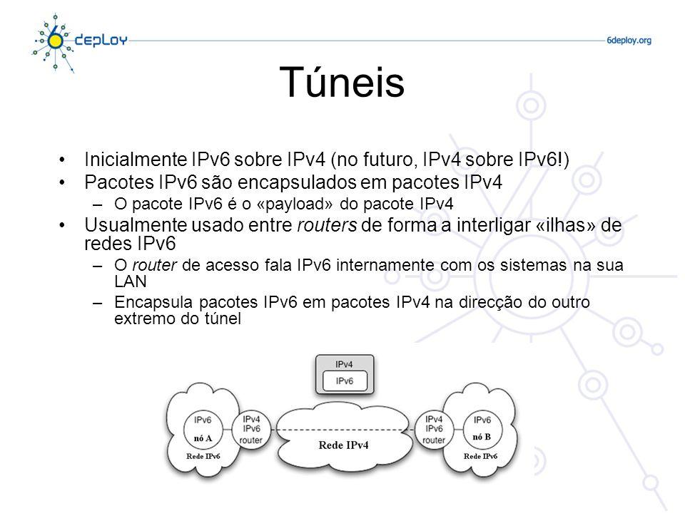 Túneis Inicialmente IPv6 sobre IPv4 (no futuro, IPv4 sobre IPv6!) Pacotes IPv6 são encapsulados em pacotes IPv4 –O pacote IPv6 é o «payload» do pacote IPv4 Usualmente usado entre routers de forma a interligar «ilhas» de redes IPv6 –O router de acesso fala IPv6 internamente com os sistemas na sua LAN –Encapsula pacotes IPv6 em pacotes IPv4 na direcção do outro extremo do túnel