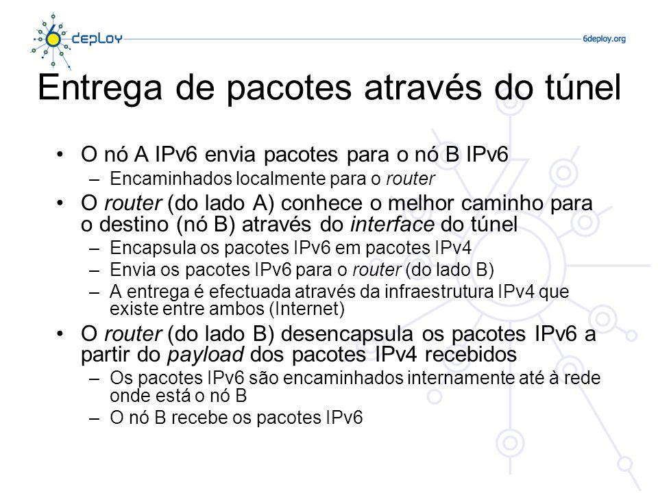 Entrega de pacotes através do túnel O nó A IPv6 envia pacotes para o nó B IPv6 –Encaminhados localmente para o router O router (do lado A) conhece o melhor caminho para o destino (nó B) através do interface do túnel –Encapsula os pacotes IPv6 em pacotes IPv4 –Envia os pacotes IPv6 para o router (do lado B) –A entrega é efectuada através da infraestrutura IPv4 que existe entre ambos (Internet) O router (do lado B) desencapsula os pacotes IPv6 a partir do payload dos pacotes IPv4 recebidos –Os pacotes IPv6 são encaminhados internamente até à rede onde está o nó B –O nó B recebe os pacotes IPv6