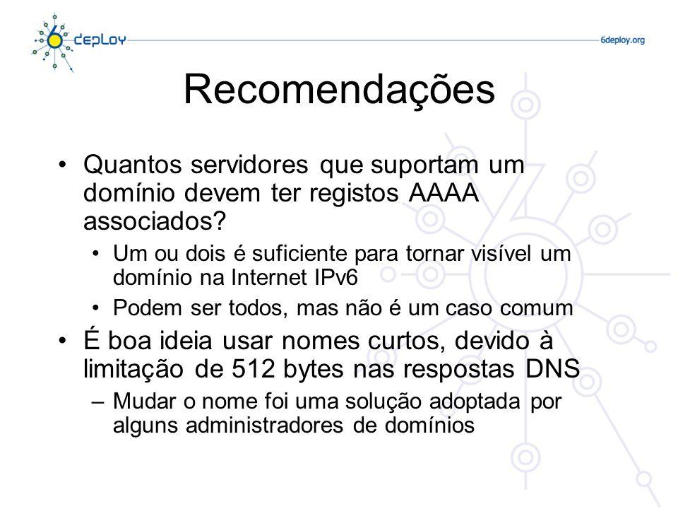 Recomendações Quantos servidores que suportam um domínio devem ter registos AAAA associados.