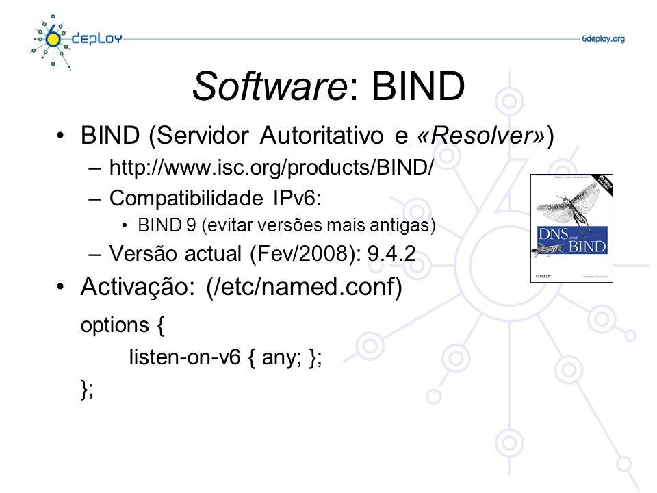 Software: BIND BIND (Servidor Autoritativo e «Resolver») –http://www.isc.org/products/BIND/ –Compatibilidade IPv6: BIND 9 (evitar versões mais antigas) –Versão actual (Fev/2008): 9.4.2 Activação: (/etc/named.conf) options { listen-on-v6 { any; }; };