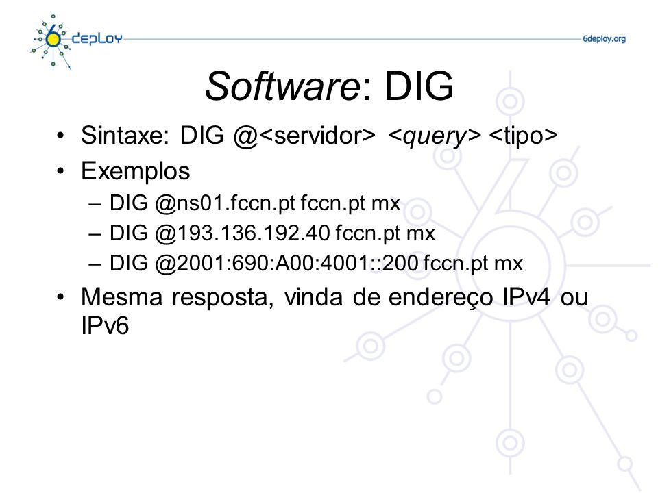 Software: DIG Sintaxe: DIG @ Exemplos –DIG @ns01.fccn.pt fccn.pt mx –DIG @193.136.192.40 fccn.pt mx –DIG @2001:690:A00:4001::200 fccn.pt mx Mesma resposta, vinda de endereço IPv4 ou IPv6