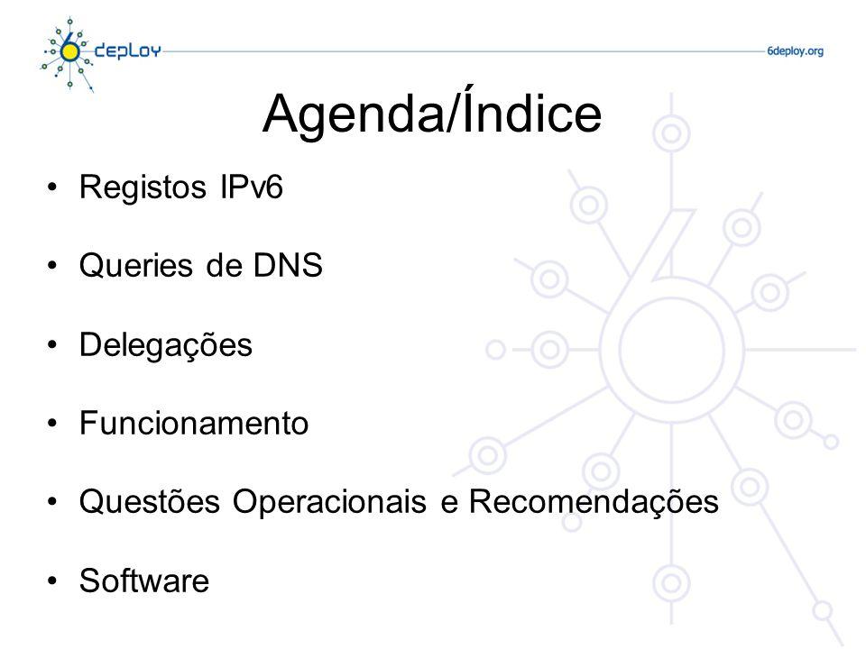 Agenda/Índice Registos IPv6 Queries de DNS Delegações Funcionamento Questões Operacionais e Recomendações Software