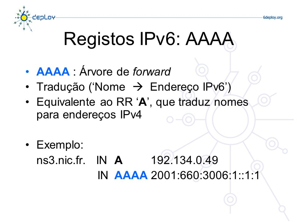 Registos IPv6: AAAA AAAA : Árvore de forward Tradução (Nome Endereço IPv6) Equivalente ao RR A, que traduz nomes para endereços IPv4 Exemplo: ns3.nic.fr.