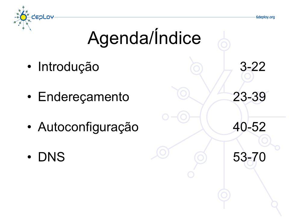 Agenda/Índice Introdução 3-22 Endereçamento 23-39 Autoconfiguração 40-52 DNS 53-70