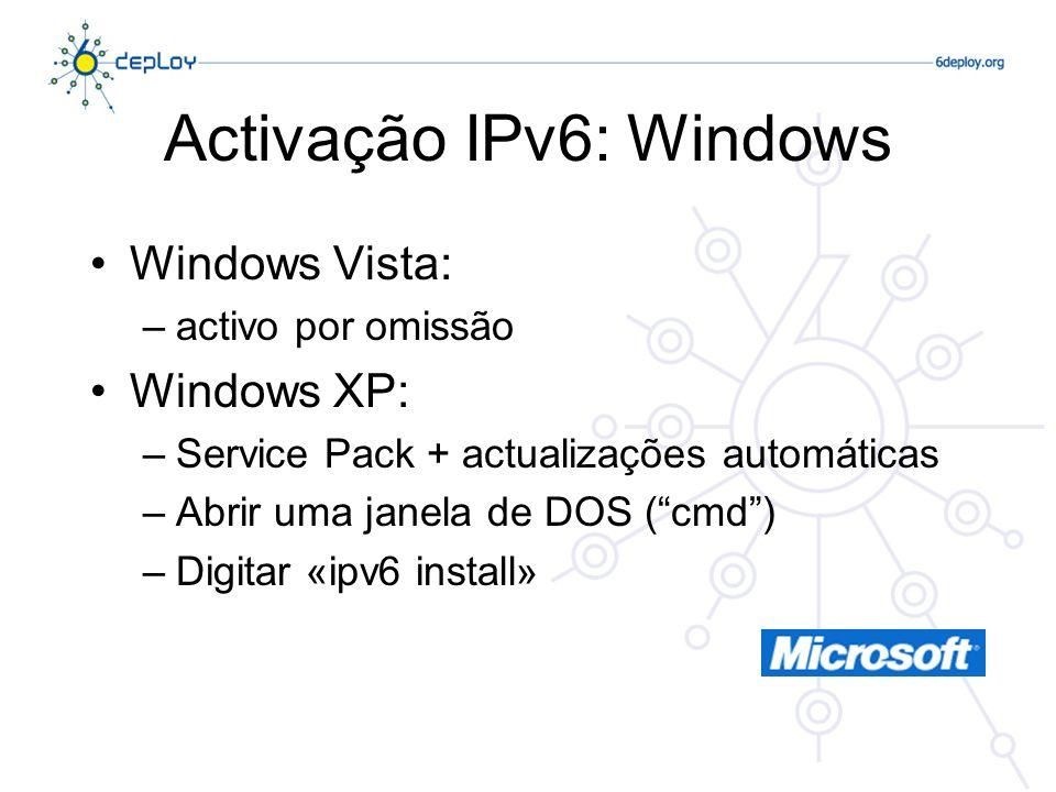 Activação IPv6: Windows Windows Vista: –activo por omissão Windows XP: –Service Pack + actualizações automáticas –Abrir uma janela de DOS (cmd) –Digit