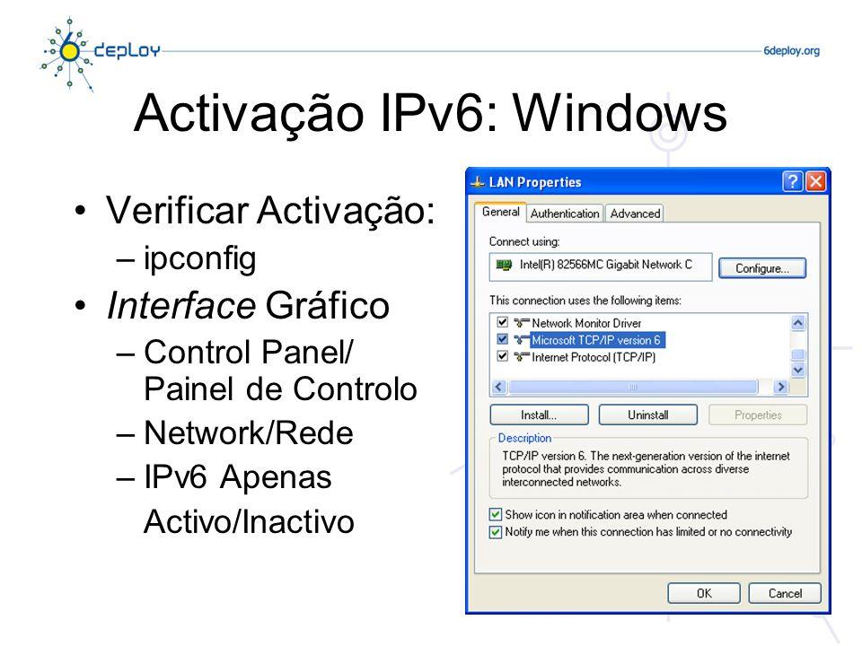Activação IPv6: Windows Verificar Activação: –ipconfig Interface Gráfico –Control Panel/ Painel de Controlo –Network/Rede –IPv6 Apenas Activo/Inactivo
