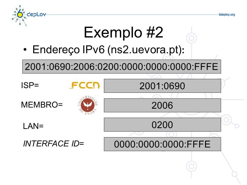 Exemplo #2 Endereço IPv6 (ns2.uevora.pt) : 2001:0690:2006:0200:0000:0000:0000:FFFE 2001:0690 2006 0200 0000:0000:0000:FFFE ISP= MEMBRO= LAN= INTERFACE