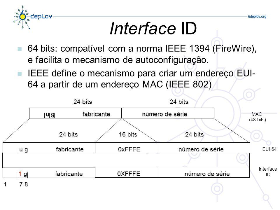 Interface ID n 64 bits: compatível com a norma IEEE 1394 (FireWire), e facilita o mecanismo de autoconfiguração. n IEEE define o mecanismo para criar